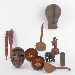 Two plaster African masks