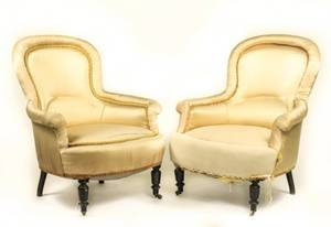 Pair of Victorian Upholstered Low Chairs