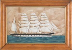 Watercolor portrait of a British frigate 19th c