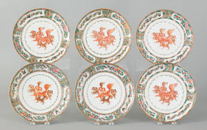 Six Chinese famille rose porcelain plates 19th c