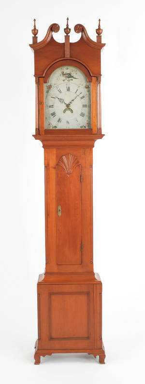 Northampton County Pennsylvania Chippendale cherry tall case clock late 18th c