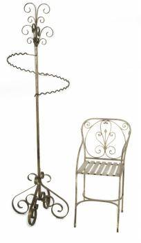 ZAPPA WROUGHT IRON COAT RACK AND CHAIR