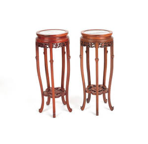 Pair of Chinese carved marble top stands