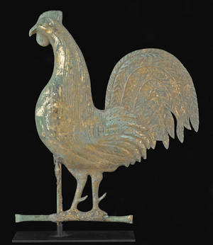 American fullbodied copper gamecock weathervane late 19thearly 20th c