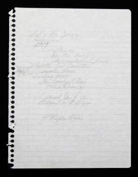 PRINCE HANDWRITTEN PURPLE RAIN WORKING SET LIST