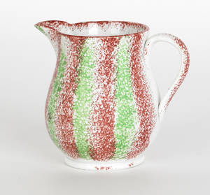 Red and green rainbow spatter creamer 19th c