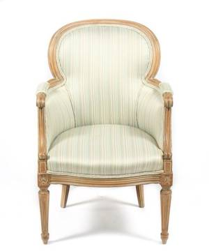 French Louis XVI Style Upholstered Armchair