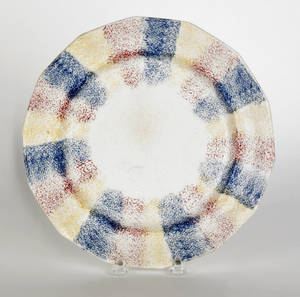 Red yellow and blue rainbow spatter plate 19th c