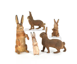 Five German rabbit candy containers