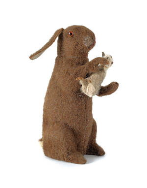 German mohair rabbit candy container