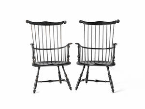 Pair of Saybold  Cleland Windsor armchairs