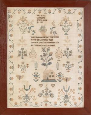 Silk on linen sampler