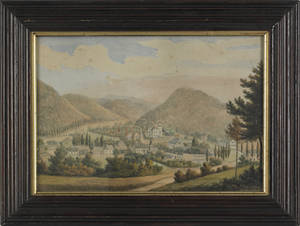 American watercolor village scene mid 19th c