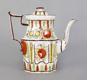 English pearlware Kings rose coffee pot early 19th c