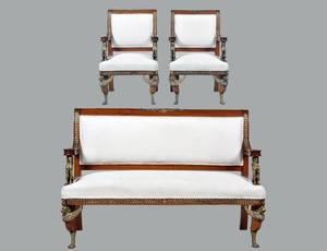 SUITE OF EMPIRE STYLE BRONZE  MAHOGANY SEAT FURNITURE