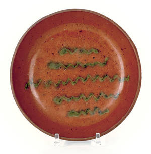 Pennsylvania redware pie plate attributed to Willoughby Smith 19th c