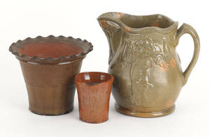 Three pieces of redware 20th c