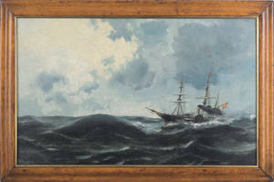 Continental oil on canvas ship portrait of a sidewheeler ca 1840