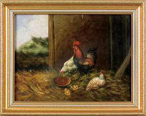 Oil on canvas barn scene with chickens and rooster
