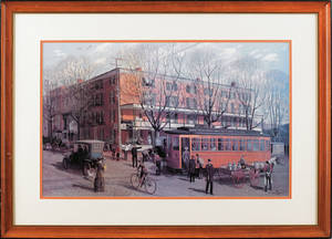 Two Barclay Rubincam chromolithographs of West Chester street scenes