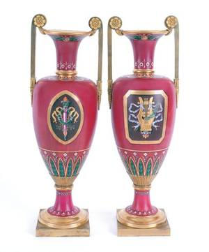 Pair of ormolu mounted porcelain urns