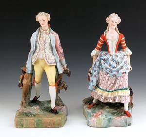 Pair of large Meissentype porcelain figures of a man and woman