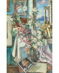 DAVID BURLIUK RUSSIAN 18821967 Still Life with Flowers and Ancient Columns