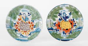 Pair of English Delft plates 18th c