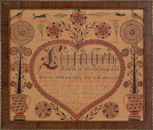Vibrant Pennsylvania watercolor and ink on paper fraktur birth record for Elisabeth Behr born April 9 1782 to Philip and Elisabeth Behr of Lancaster County dated twice
