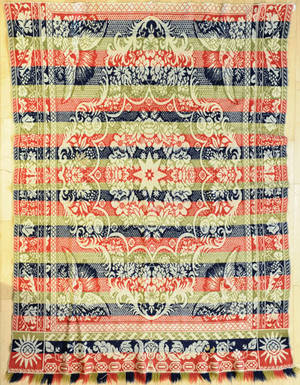 American red blue and green jacquard coverlet ca 1840