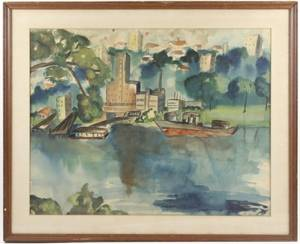1958 Watercolor City Skyline From Marina