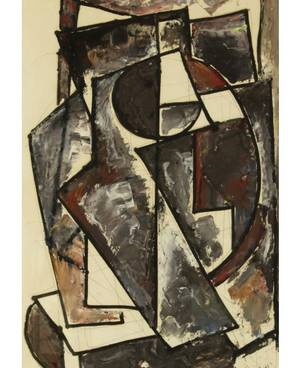 ANATOLY ZVEREV RUSSIAN 19311986 Grey Cubist Composition
