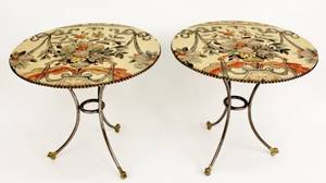 Pair of Gueridons w Tapestry Upholstered Tops