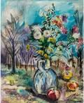 DAVID BURLIUK RUSSIAN 18821967 Still Life in a Landscape