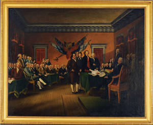 American oil on canvas depiction of the signing of the Declaration of Independence mid 19th c