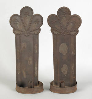 Pair of tin sconces early 19th c
