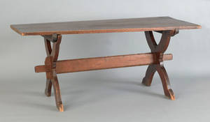 Pine trestle base table late 18th c