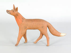 Carved and painted figure of a fox 19th c
