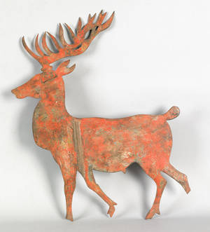 Painted sheet iron stag weathervane 19th c