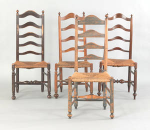Assembled set of four Pennsylvania ladderback side chairs late 18th c