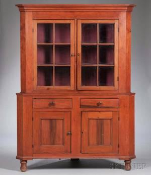 Glazed Pine and Poplar Twopart Corner Cupboard