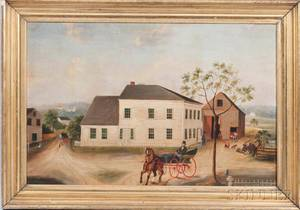 American School 19th Century Portrait of a White House and Gray Barn