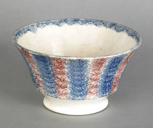 Red and blue rainbow spatter waste bowl 19th c
