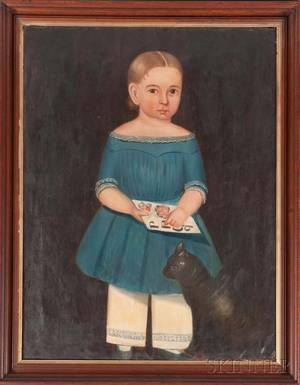American School 19th Century Portrait of a Child in a Blue Dress with a Black Cat