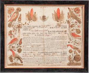 Printed and Watercolordecorated Birth Certificate Fraktur
