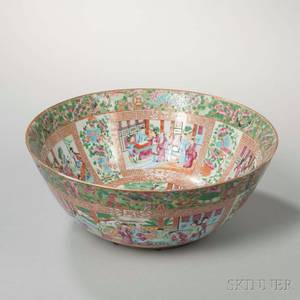 Rose Mandarin Export Porcelain Punch Bowl