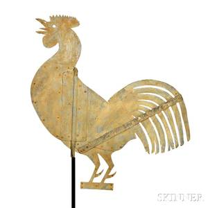 Large Yellowpainted Sheet Iron Rooster Weathervane