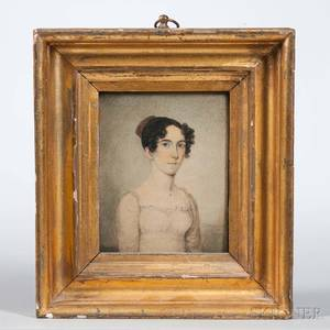 Continental School Early 19th Century Miniature Portrait of a Young Woman