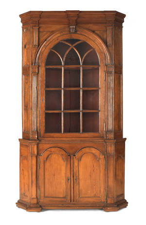 Lancaster County Pennsylvania hard pine twopart architectural corner cupboard ca 1780