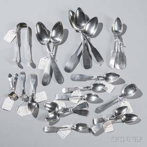 Twentytwo Philadelphia Coin Silver Spoons and Tongs